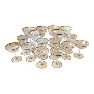 Mid-Century Val Saint Lambert Eva Gold Crystal Stemware - Lot of 16 Pieces For Sale