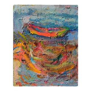 """1980s """"Boat in Harbor"""" Abstract Nautical Oil Painting by Kristin Cohen For Sale"""