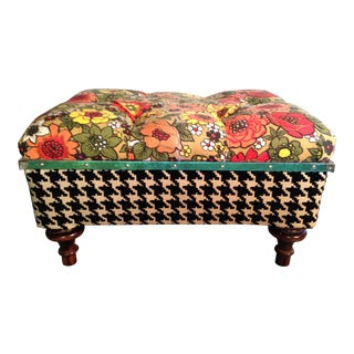 Vintage Floral Fabric and Houndstooth Ottoman For Sale