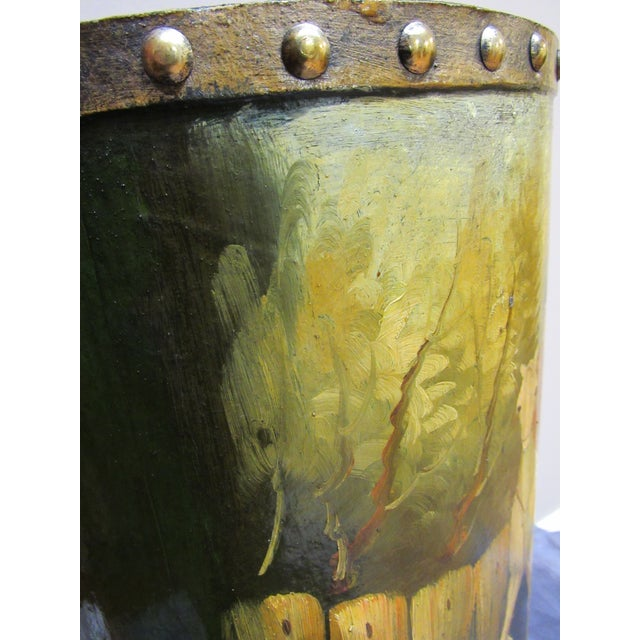 Waste Basket With Painted Hunt Scene For Sale - Image 10 of 13