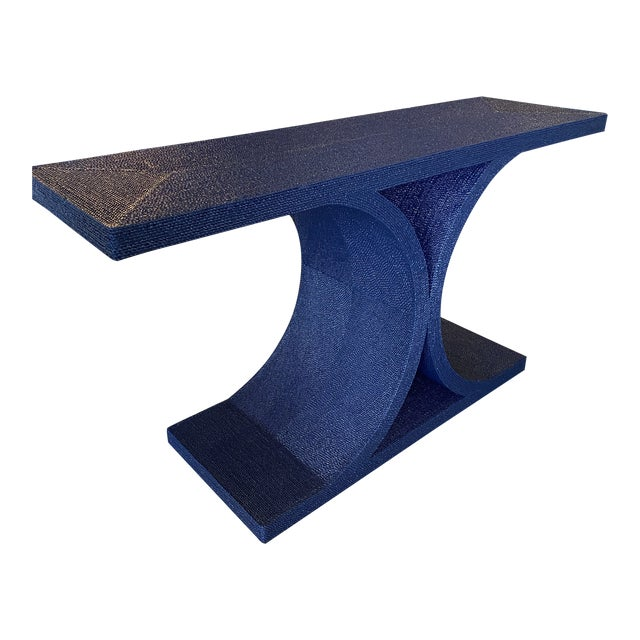 Vintage Karl Springer Style Navy Blue Lacquered Rope Console Table For Sale