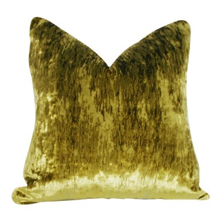 Green and Chartreuse Flame Stitch Velvet Pillow For Sale