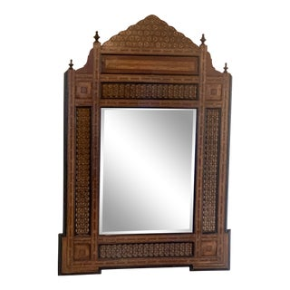 Late 20th Century Syrian Mirror In-Laid Wood Mirror 42 X 60 For Sale
