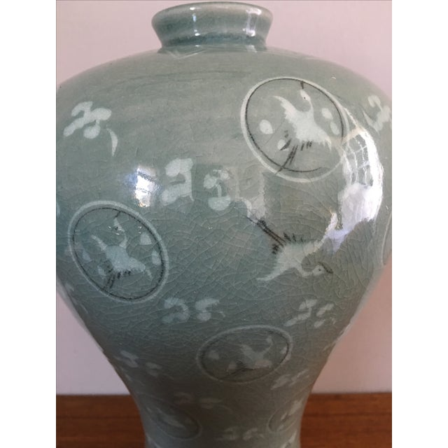 Vintage Korean Celadon Crackle Glaze Crane Vase Chairish