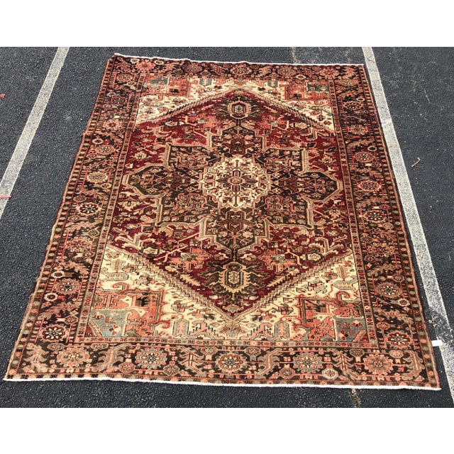 """1930's Vintage Persian Heriz Large Area Rug 9'2""""x10'7"""" For Sale - Image 13 of 13"""