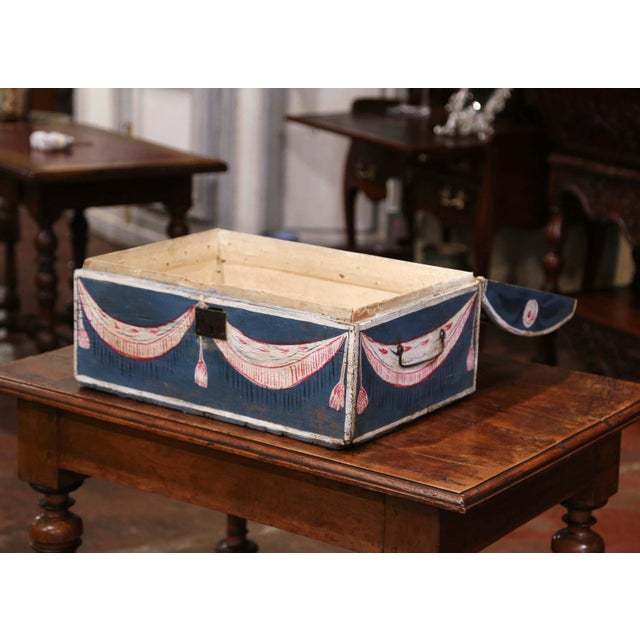Late 18th Century 18th Century French Normandy Painted Wedding Trunk With Bird and Swag Motifs For Sale - Image 5 of 10