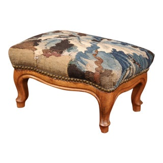 19th Century French Carved Walnut Footstool With 18th Century Aubusson Tapestry For Sale