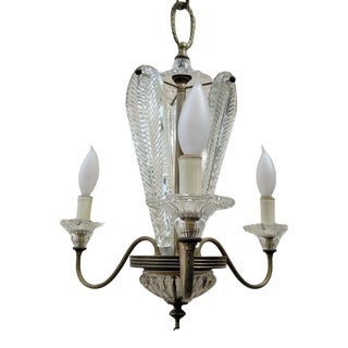Vintage Neoclassical Leaf 3-Arm Chandelier in the Style of Ercole Barovier for Barovier & Toso For Sale