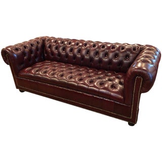 Burgundy Chesterfield Tufted Leather Sofa