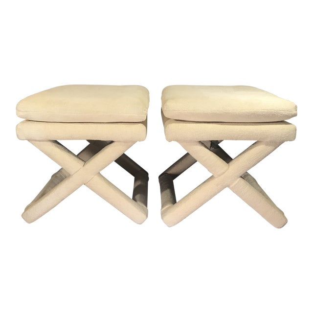 Late 20th Century Vintage Billy Baldwin-Style Upholstered X Base Stools - a Pair For Sale