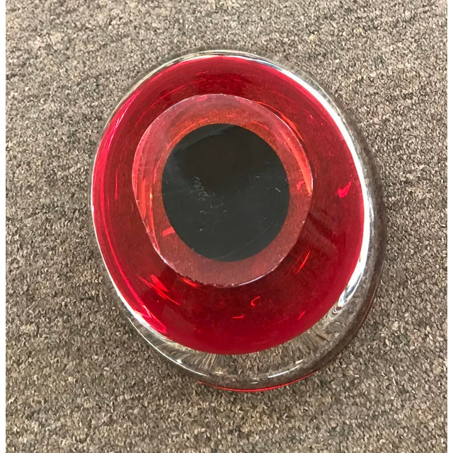 Glass Mid Century Red Art Glass Bowl For Sale - Image 7 of 8