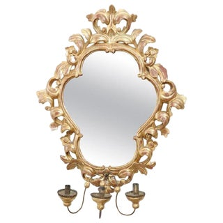 20th Century Italian Baroque Style Gilded Carved Wood Wall Mirror With Candle For Sale
