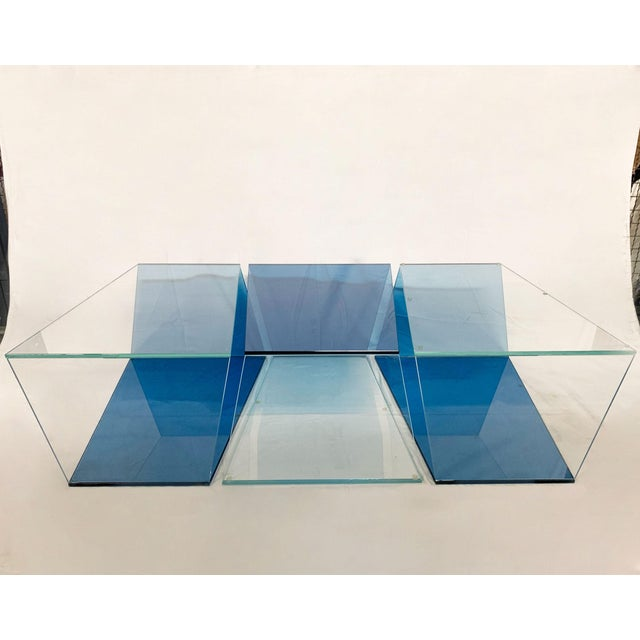 1970s 1970s Contemporary Geometric Blue and Clear Glass 3 Piece Coffee Table For Sale - Image 5 of 12