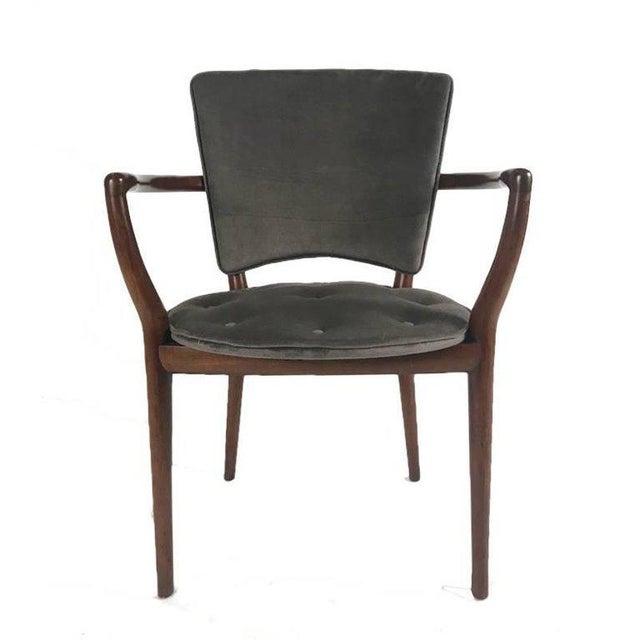 Gray Bert England for Widdicomb Desk/ Armchair in Grey Velvet With Tufting For Sale - Image 8 of 12