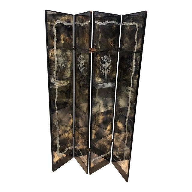 Vintage Four Panel Mercury Mirror Folding Screen For Sale