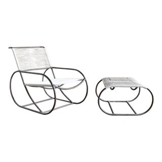 Kipp Stewart for Terra of California Bronze Outdoor Lounge Chair and Ottoman For Sale