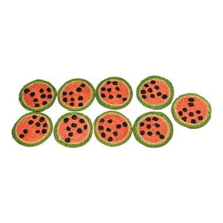 Vintage Hemp Watermelon Coasters - Set of 9
