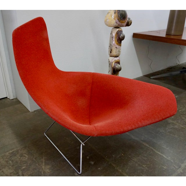 Red Bertoia Assymetric Red Upholstered Lounge Chair for Knoll For Sale - Image 8 of 8