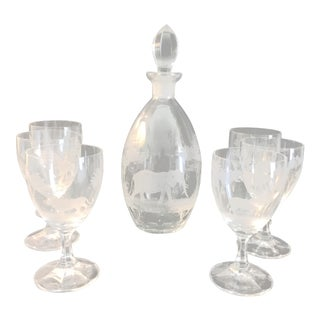 Rowland Ward - Kenya Glassware Engraved With Safari Animals