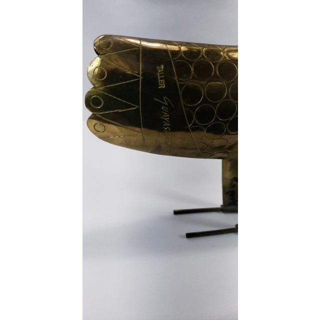 Metal Vintage Brass & Turquoise Chicken Modernist Art Sculpture Oswaldo Guayasamin For Sale - Image 7 of 12