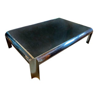 1980s Karl Springer Brueton Style Black Granite Stainless Steel With Brass Accents Coffee Table For Sale