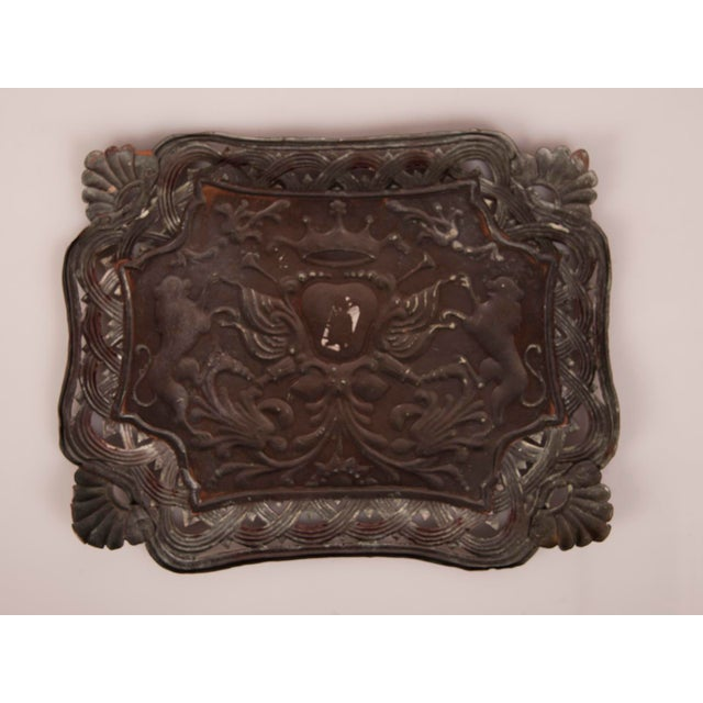 Copper Antique French Copper Tray with Heraldic Lions circa 1890 For Sale - Image 7 of 8