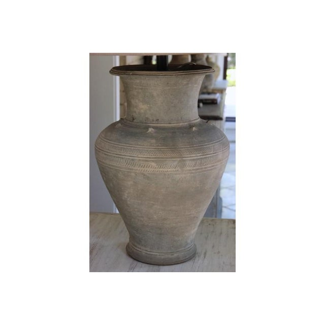 16th Century Large Unglazed Khmer Vase as Table Lamp For Sale - Image 5 of 12