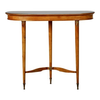 Three-Legged Art Deco Console with Brass Fittings and Black Glass Top For Sale