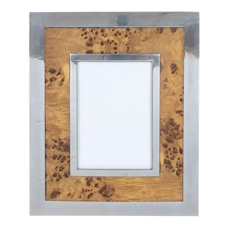 Vintage Rectangular Nickel and Burl Wood Picture Frame For Sale