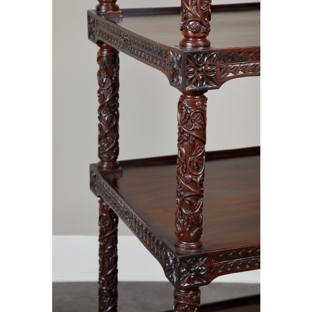 19th Century Four Tiered Rosewood Carved Etagere - Image 8 of 10