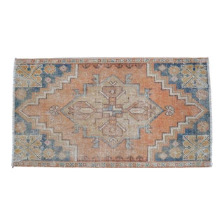 Distressed Low Pile Rug Turkish Small Rug Faded Colors Yastik Mat - 19'' X 35'' For Sale