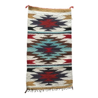 1960s Vintage Native American Navajo Style Blanket / Rug - 1′8″ × 3′1″ For Sale