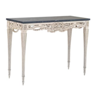 Swedish Pierced Rim Marble Top Console Table For Sale