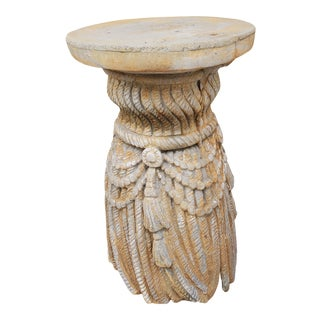 Vintage 1950s Concrete Sway Rope and Tassel Pedestal/Plant Stand For Sale