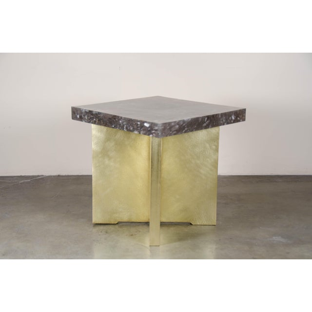 Quad Brass Table Set with Smoke Crystal Top by Robert Kuo, Limited Edition For Sale In Los Angeles - Image 6 of 6