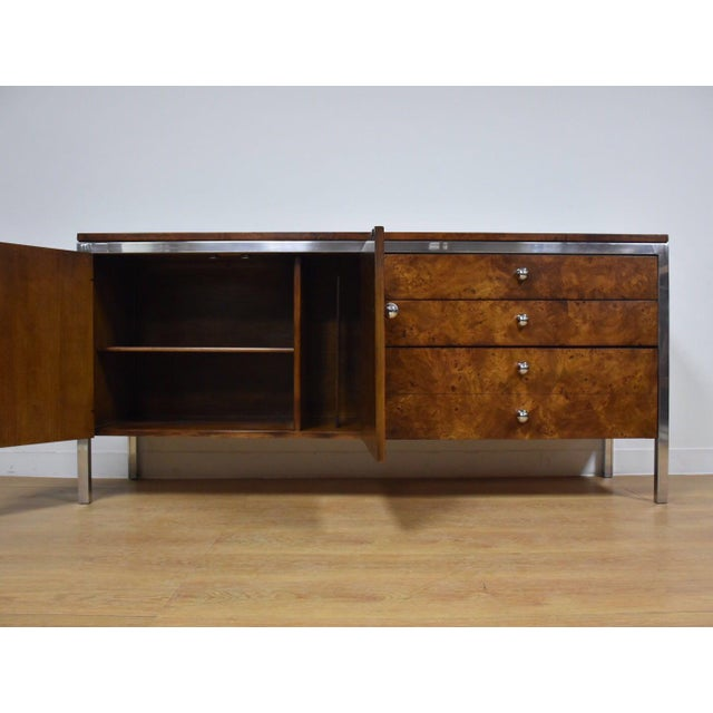 Tomlinson Tomlinson Burl and Chrome Credenza For Sale - Image 4 of 11