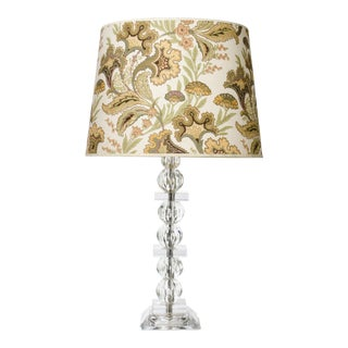Jamie Young Cut Glass & Lucite Table Lamp With Floral Shade For Sale