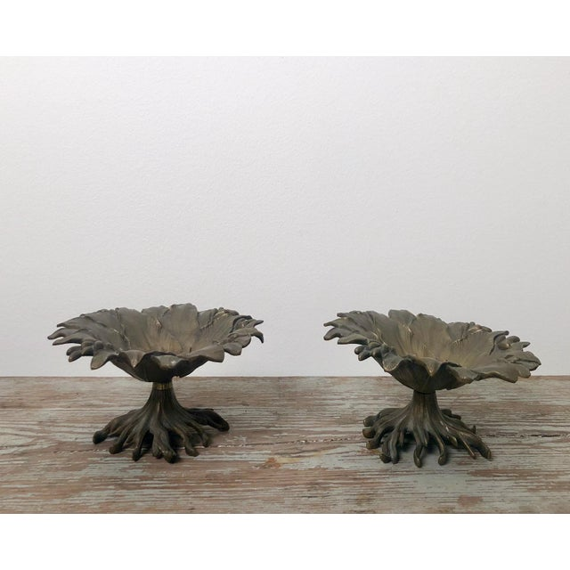 Late 19th Century 19th Century Napoleon III Bronze and Brass Tazzas - a Pair For Sale - Image 5 of 6