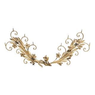 Vintage French Provincial Gold Iron Decorative Floral Wall Plaque Decor Wreath