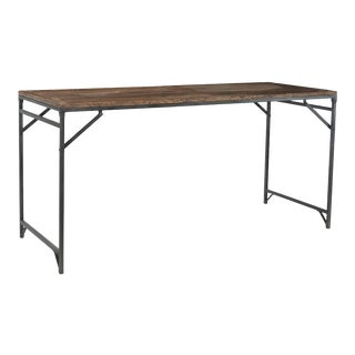 1950s Iron & Teak Folding Bar Table For Sale