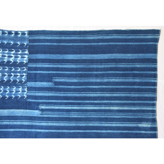 """58"""" X 34"""" Custom Tailored Blue & White Flag From African Textiles - Image 5 of 8"""