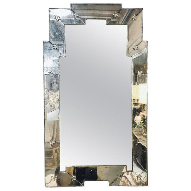 Art Deco Style Venetian Wall Console Mirror Distressed Frame Border Clear Center For Sale - Image 13 of 13