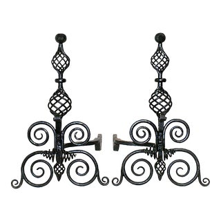 Circa 1900 French Wrought Iron Andirons With Double Birdcage Design Balusters on Scrollwork Supports - a Pair For Sale
