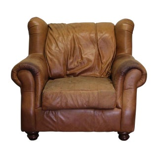 Traditional Leather Wingback Chair For Sale