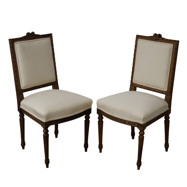 Antique Louis XVI Walnut Side Chairs - A Pair - Image 1 of 10