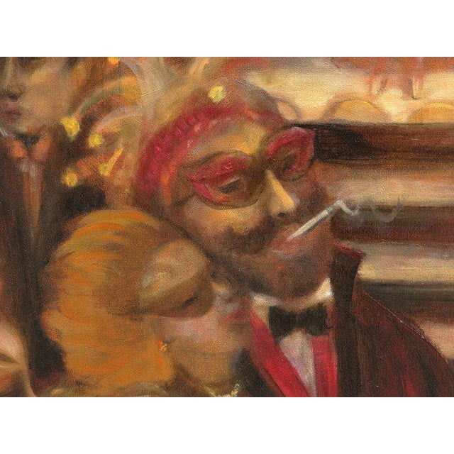 Masquerade Ball Scene Oil Painting For Sale - Image 4 of 6
