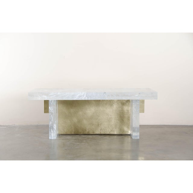 Asian Melrose Bench by Robert Kuo, Brass and Crystal, Limited Edition For Sale - Image 3 of 5
