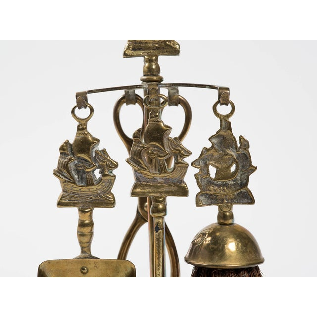 Brass English Tabletop Nautical Fireplace Tool Set For Sale - Image 7 of 8