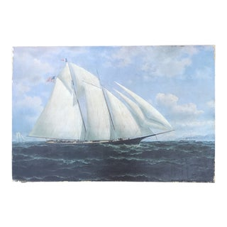 Vintage Maritime Sailboat Ship Seascape Painting For Sale
