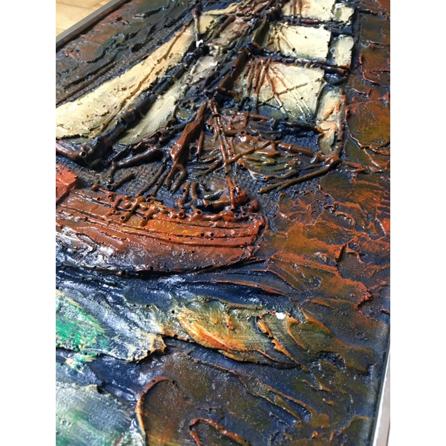 Abstract 1960s Figurative Painting of Impasto Sailing Ship For Sale - Image 3 of 7